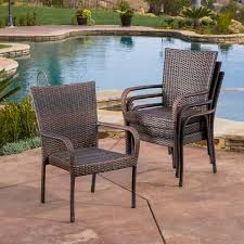 wicker stacking chair. Perfect Chair Outdoor PE Wicker Stackable Arm Club Chairs Set Of 4 By Christopher  Knight Home With Stacking Chair