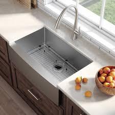 kraus standart pro 8482 33 inch 16 gauge single bowl stainless steel farmhouse
