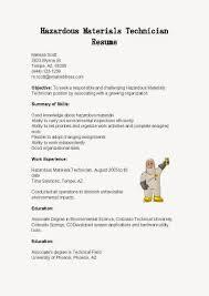 Gallery Of Resume Samples Hazardous Materials Technician Resume
