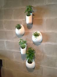 ceramic wall planters set five white wall pocket set hand painted