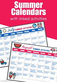 A Simple To Use Summer Calendar With Linked Activities For Kids