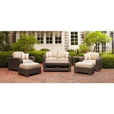 brown jordan northshore patio loveseat with harvest cushions and regency wren throw pillows stock dy6061 lv the home depot brown jordan northshore patio furniture
