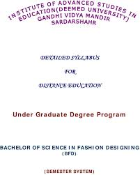 Distance Education In Fashion Designing Detailed Syllabus For Distance Education Under Graduate