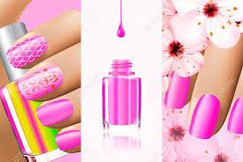 夏春ネイル デザインのカラフルなピンクのコレクションですベクトル