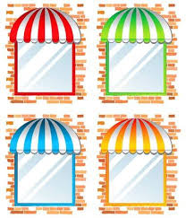 store window clipart. Wonderful Clipart Store Window With Awning In 4 Color Variations Stock Vector  14269824 Inside Store Window Clipart