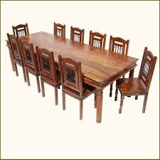 rustic 11 pc large solid wood dining table chairs set for 10 seat formal dining room