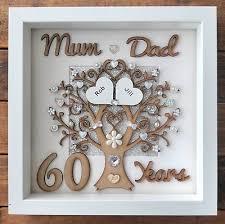 personalised handmade diamond 60th wedding anniversary gift frame mum dad love