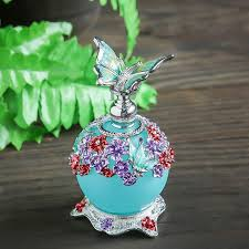 h d 23ml beauty antique colorful flower restoring glass perfume bottle with erfly empty refillable container stopper gifts