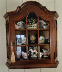 french antique oak wall shelf and curio cabinet with dome top and scalloped shelves