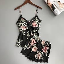 2019 <b>Sleep Lounge Pajama Set</b> Sexy Satin Sleepwear Women ...