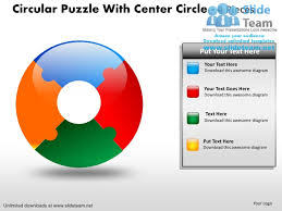 Circular Puzzle Pie Chart With Center Circle 4 Pieces Power