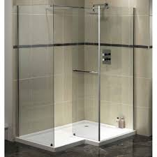 elegant corner bathroom with glass shower enclosure and completed with chrome towel holder also rainfall shower