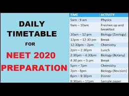 Daily Time Table Daily Timetable For Neet 2020 Preparation