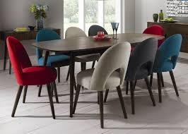 retro walnut extending dining table with 8 upholstered round dining table with upholstered chairs