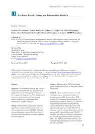Pdf External And Internal Citation Analyses Can Provide Insight