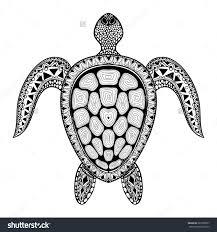 Zentangle Tribal Stylized Turtle Hand Drawn