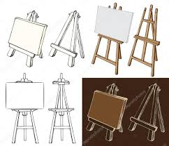 wooden easel and canvas stock vector