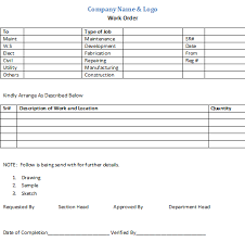 Internal Work Order Form Template Free Download