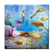 ceramic tiles art ocean. Simple Ceramic Ceramic Tile Coaster Or Framed Cat Mermaid 31 Sea Turtle Ocean Art  LDumas In Tiles Art O