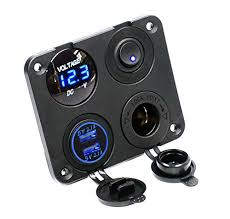 cllena dual usb socket charger 2 1a 2 1a led voltmeter 12v usb socket dimension approx 2 9 4cm screw diameter height power socket dimension approx 2 9 4cm screw diameter height