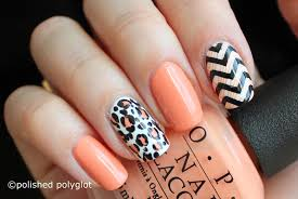 Nail Art │ Peach, black and white skittlette for Spring ...