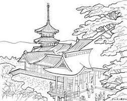 京都清水寺の塗り絵の下絵画像