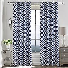 Navy Blue Curtains for Bedroom - Anady 2 Panel Room Darkening Geometric Blue /White Curtains