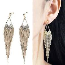 clip on chandelier earrings rhinestone long chain invisible clip on earrings dangle gold fringe chandelier black