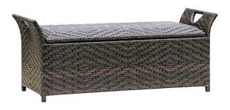 outdoor wicker storage bench brown alfresco home white