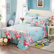 100 cotton blue bed sheets pink printing flowers new fashion