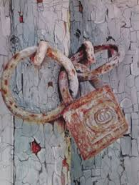 rusty old lock detail of realistic oil painting on 40 x 50 cm canvas from the painting series old doors by gtnart uae