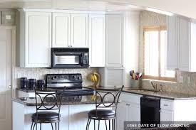 painted white kitchen cabinets before and after. White Painted Cabinets With Black Appliances Kitchen Before And After