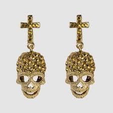 cross and skull crystal earrings