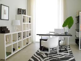 neutral office decor. decorations striking white table lamp and tidy open shelves for modern home office decorating with chairs stripes area rug neutral decor