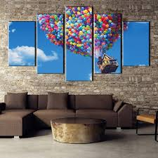 hd printed 5 pieces flying house up futurama movie painting canvas wall art picture home decoration on interior design canvas wall art with hd printed 5 pieces flying house up futurama movie painting canvas
