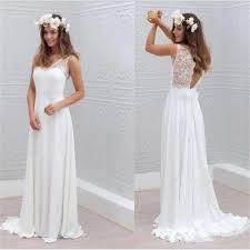 2017 chiffon lace simple beach cheap open back beautiful wedding