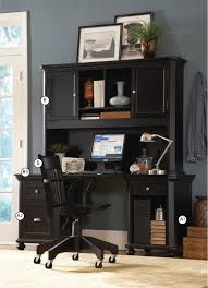 black double pedestal office desk with hutch in black