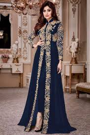 Indian Traditional Salwar Kameez Designs Attractive Blue Color Georgette Heavy Gold Embroidered