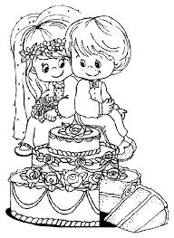 Trouwen Huwelijk Kleurplaten Taart