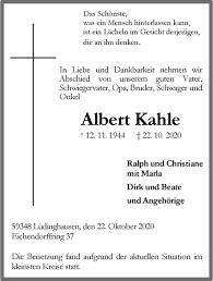 Traueranzeigen von Albert Kahle | www.trauer.ms