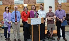 eight faculty members selected as celebrate teaching left to right are dr luz mcnaughton reyes dr morris weinberger dr