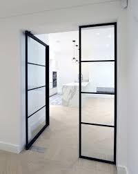 aluminium swing door office clear glass