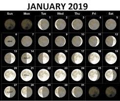 January 2019 Moon Phases Calendar Moon Phase Calendar New