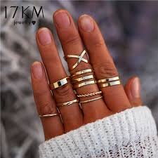 17KM <b>8 Pcs</b>/<b>Set</b> Simple <b>Design</b> Round Gold Color Rings Set For ...