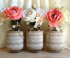 Decorating With Mason Jars And Burlap burlap and lace shabby chic mason jar vase deocration Wedding 38