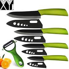 xyj brand ceramic knives chef slicing utility paring knife set of kitchen knives black cooking tools