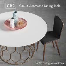 3d Cb2 Circuit Geometric Dining Table Set Walnut Cgtrader
