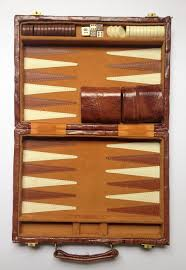vintage backgammon set in leather case