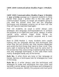 cape communication studies paper module by  cape 2009 communication studies paper 2 module 1 cape 2009 communication studies paper 2 module 1 was a tricky passage as it required students to think