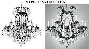 full size of surprising benita antique black 4 light iron orb crystal chandelier set of 2